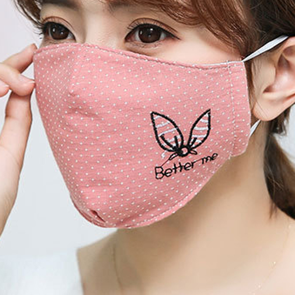 H62f28020e7da4c30ab76edcebd220497K Kawaii Maska Women Cotton Print Facemask Outdoor Riding Quick-drying Dustproof Keep Warm Mask