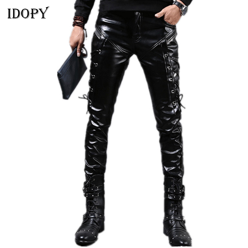 Idopy Men`s Leather Pants Punk Style Skinny Lace Up Party Stage Performance Night Club Steampunk Faux PU Leather Trousers
