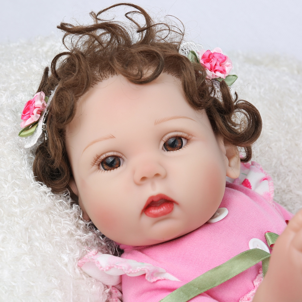 Mini 45cm 18 ''New único bebe reborn todos boneca de vinil com 1 ímã pcs chupeta linda brinquedos para o banho para as crianças sobre o presente de Natal - 6