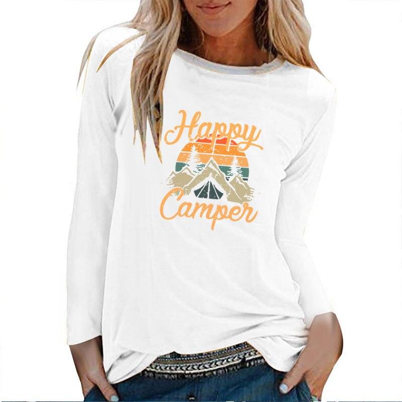 Женская футболка с длинным рукавом, круглым вырезом и принтом