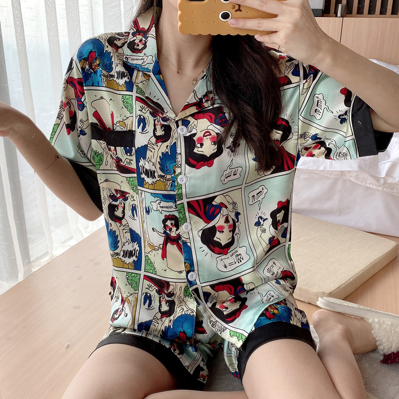 Lazy Style 2020 WAVMIT Short Sleeve Pajamas Silk Set 2 Pcs Set Women Sleepwear Sexy Nightwear For Women Pyjamas Set Short Pant