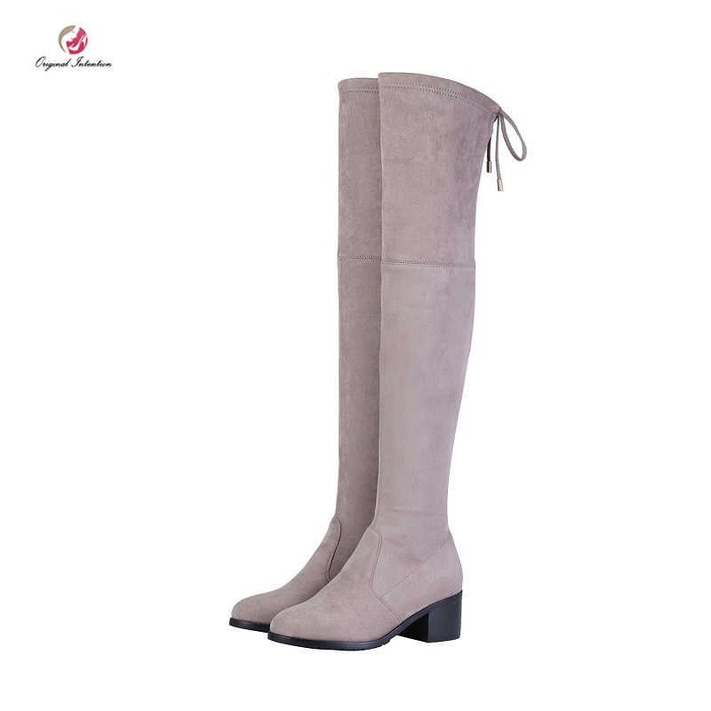 Original Intention Over-the-Knee Boots Women Flock Sock Boots Bow Knot Winter Boots Round Toe High SquareHeels Black Shoes Woman