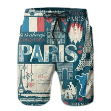 Męskie spodenki plażowe szybkoschnące kąpielówki męskie Paris jednolity wzór mężczyźni stroje kąpielowe strój kąpielowy kostiumy kąpielowe szorty kąpielowe plażowe tanie tanio Cartoon Poliester