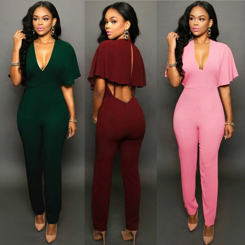Women Bandage Bodycon Short Sleeve Long Party Jumpsuits Clubwear Romper Ladies Deep V-neck Solid Casual Hot Jumpsuit Clothing