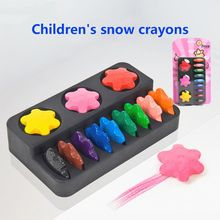 12 Colors Non-toxic Wax Snowflake Shape Crayons for Toddler Baby Kids Washable Safe Painting Drawing Tool School Art Supply