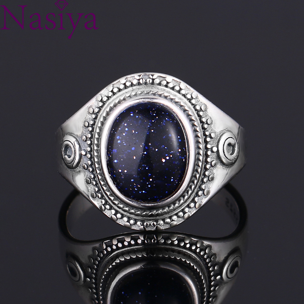Luxury Big BluE Sandstone Vintage Ring For Women Men 925 Silver Fine Jewelry Party Anniversary Wedding Gift