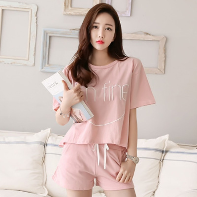 Summer Short-sleeved Pajamas WOMEN'S Shorts Casual Two-Piece Set-Outer Wear Homewear Set Korean-style Loose-Fit
