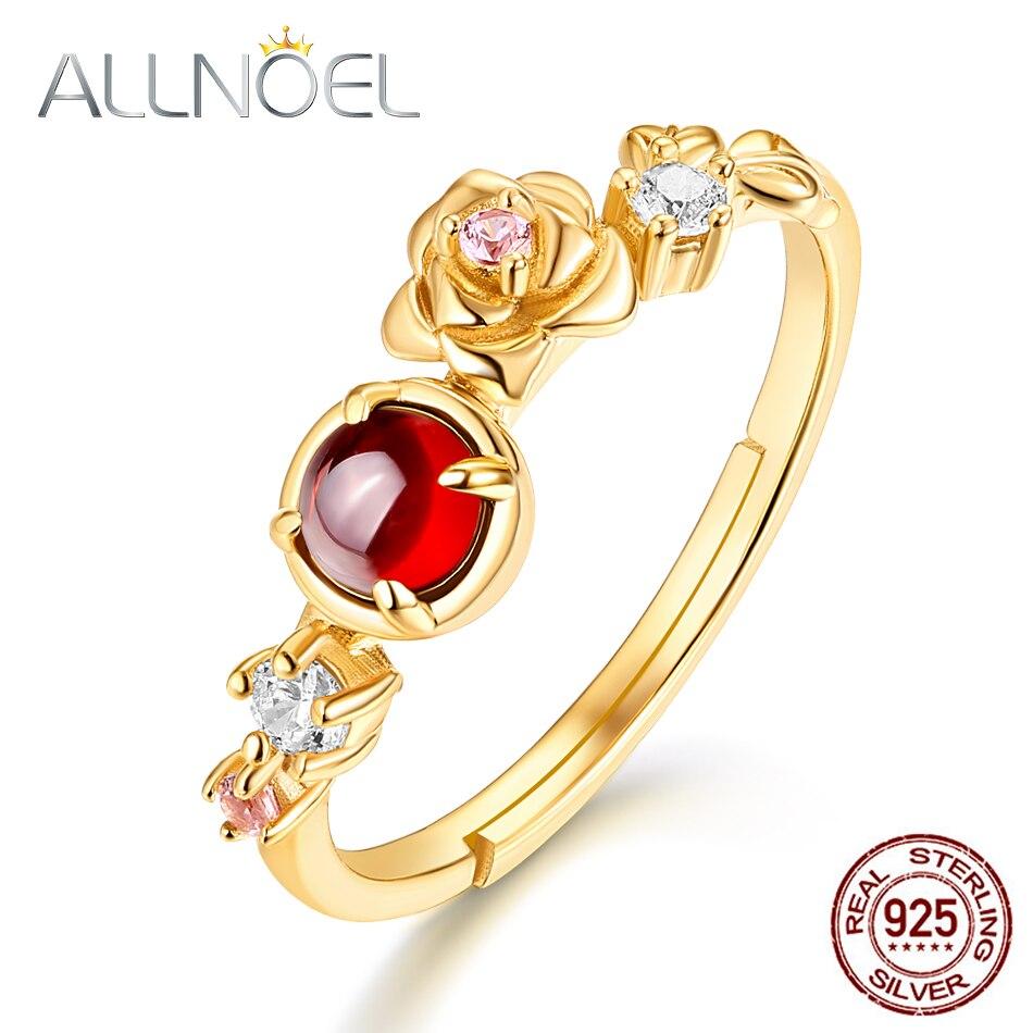 ALLNOEL 925 Sterling Silver Moissanite Ring 100% Natural Garnet Rose Quartz Gemstones Flower Ring  Luxury Jewelry  925 Ring