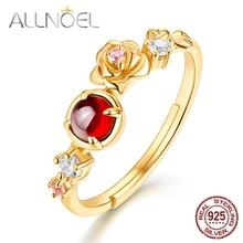 цены ALLNOEL 925 Sterling Silver Moissanite Ring 100% Natural Garnet Rose Quartz Gemstones Flower Ring  Luxury Jewelry  925 Ring