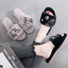 Women 2020 Home Heart Slippers Winter Warm Shoes Woman Slip On Flats Slides Female Faux Fur Slippers House Shoes  Wholesale