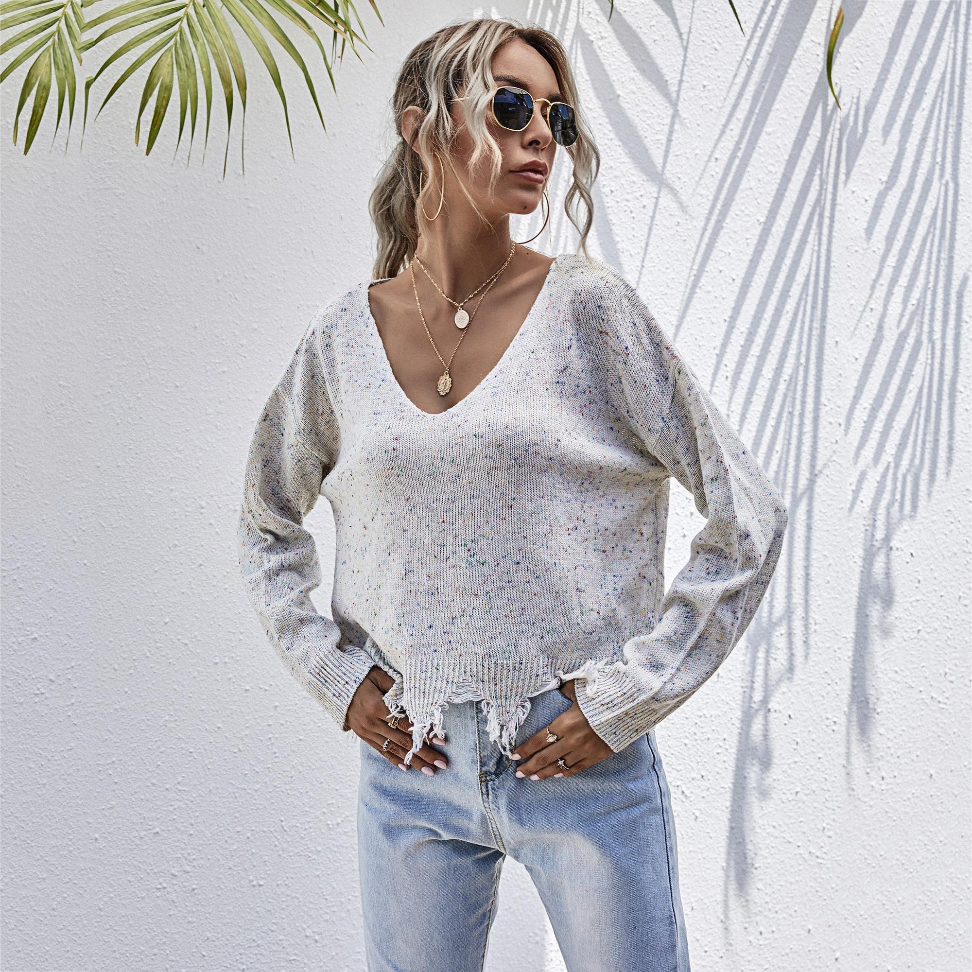 Женский свободный вязаный свитер с длинными рукавами в европейском и американском стиле, Осень-зима 2020