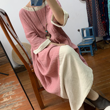 Original artistic style stitching contrast color double cotton dress loose oversize meat covered large swing dress autumn