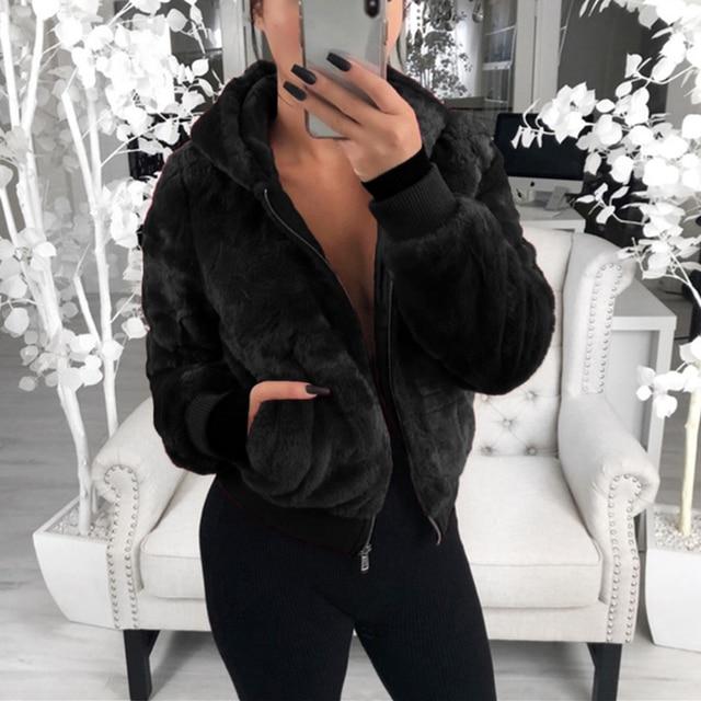 2020 New Faux Fur Women Coat With Hood High Waist Fashion Slim Black Red  Faux Fur Jacket Fake Rabbit Fur Coats 4