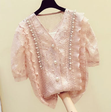 White Pink Lace Shirt Women 2020 Summer New Beaded V-neck Lace Shirt All-match Loose Cutout Lace Blouse Blusas Mujer Nancylim