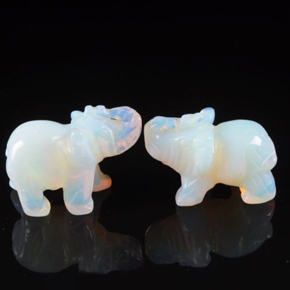 Opal Colorful Jade Stone Elephant Animal Pocket Stone Auspicious Carved Glass Elephant Statue Figurine Lucky Decoration Craft Or