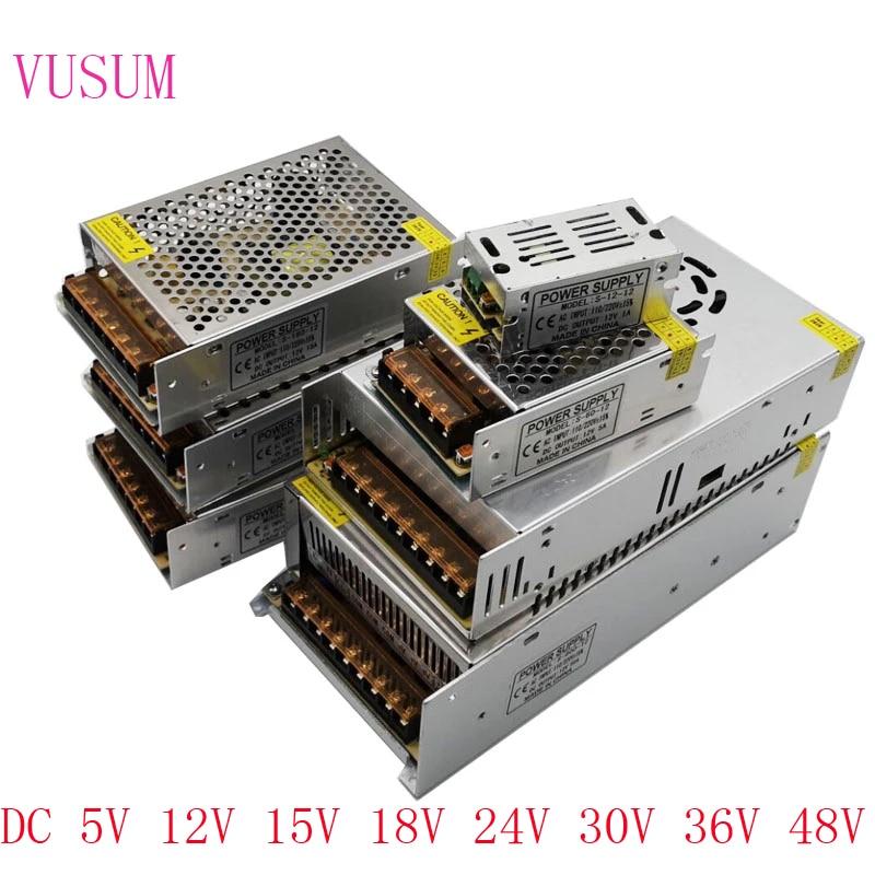 Fuente de alimentación conmutada, transformador de luz AC110V, 220V a CC, 5V, 12V, 15V, 24V, 36V, 48V, adaptador de fuente de alimentación para tira Led CCTV