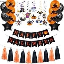 Twins Party Halloween Banners Pumpkin Ghost Balloons DIY Balloon Decoration Kit heme Supplies
