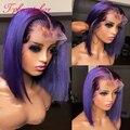 Парик фиолетового цвета, Короткие парики из человеческих волос, предварительно выщипанные цветные парики для женщин, бразильские волосы бе...