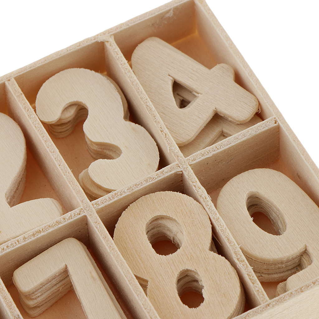 60 Piece Set Wooden Numbers - Wooden Craft Numbers With Storage Tray - Unpainted Wood Arabic Numbers Kids Learning