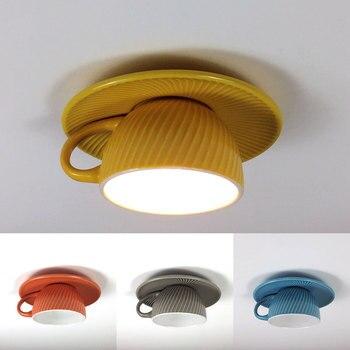Nordic Ceramic Tea Cup Ceiling Lights Modern Led Ceiling Lamp Living Room Bedroom Hanging Light Fixtures Bar Cafe Home Art Decor