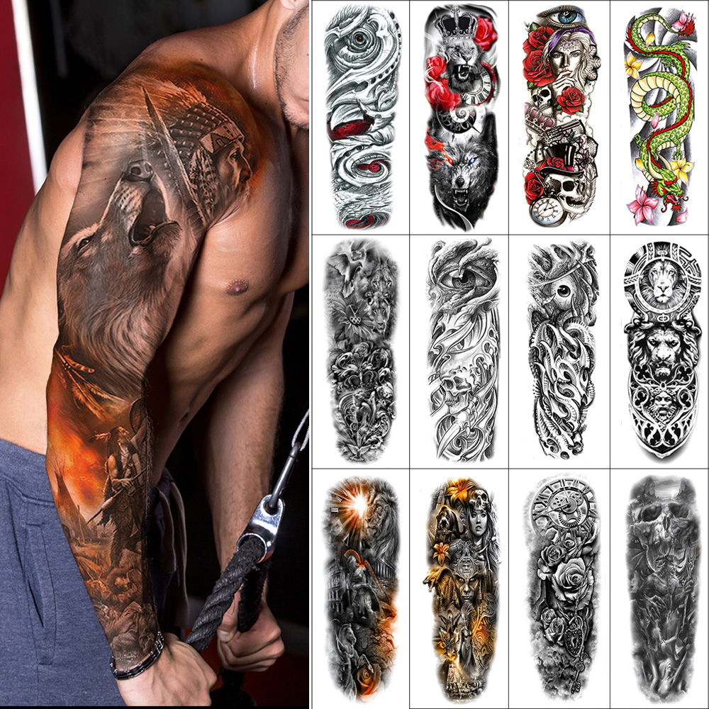 Temporary Full-arm Tattoo Sticker Skull Flower Dragon Eye Lion Animal Warrior Arm Waterproof Fake Tattoo 480*170mm For Men Women