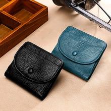 Мини-кошелек для монет из кожи с натуральным лицевым покрытием, тисненая кожа, однотонный кошелек с пряжкой, кожаный кошелек