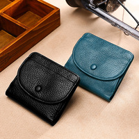 Mini Hot Coin Purse Full grain Leather Embossed Leather Solid Color Buckle Wallet Leather Wallet