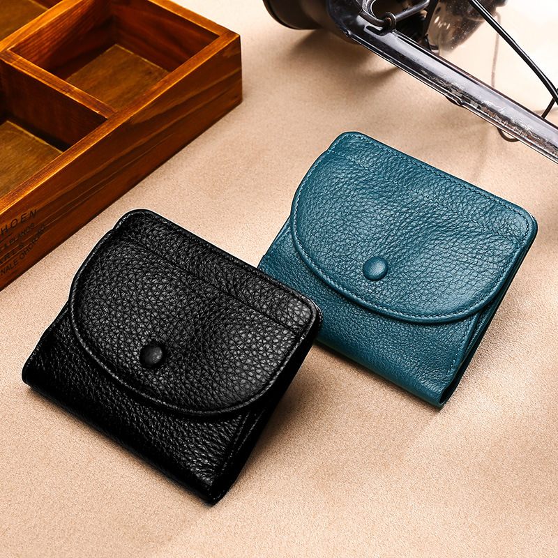 Mini Hot Coin Purse Full-grain Leather Embossed Leather Solid Color Buckle Wallet Leather Wallet