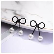 New Black Bow Pearl Earrings Female Simple Temperament Jewelry Wholesale  for Women Korean