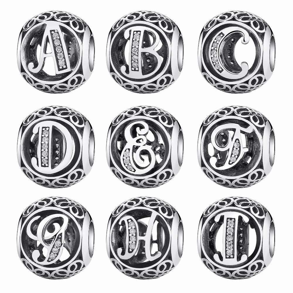 925 пробы, серебряные, винтажные, а до Т прозрачные, CZ буквы, алфавит, круглые бусины, подходят для бисаера, браслеты с подвесками, оригинальные ювелирные изделия EDC008