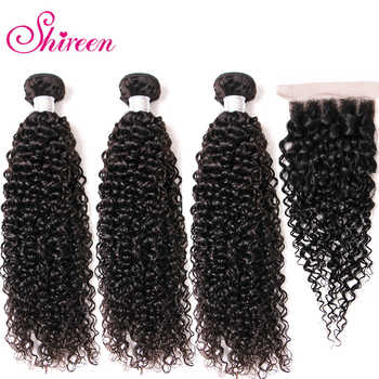 Shireen Malaysian kinky Curly Hair Bundles With Closure Remy Human Hair Extensions 3 Bundles With 4*4 Lace Closure Natural color - DISCOUNT ITEM  50% OFF All Category