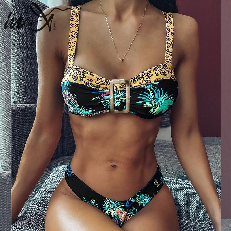 In-X Sexy Leopard Swimsuit Female Leave Print Bikini Set 2020 Micro Biquini Brazilian Swimwear Women Summer Bathers Bathing Suit