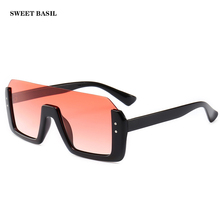 SWEET BASIL Oversize Sunglasses Women 2019 Pink Mirror Sun Glasses One Pieces Half Frame Rectangle Sunnies UV400 Oculos Feminino