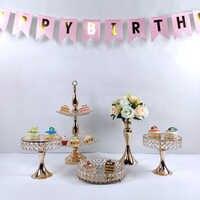 Miroir rond gâteau support en fer forgé exquis gâteau support Base Dessert support rond gâteau affichage mariage anniversaire guidon
