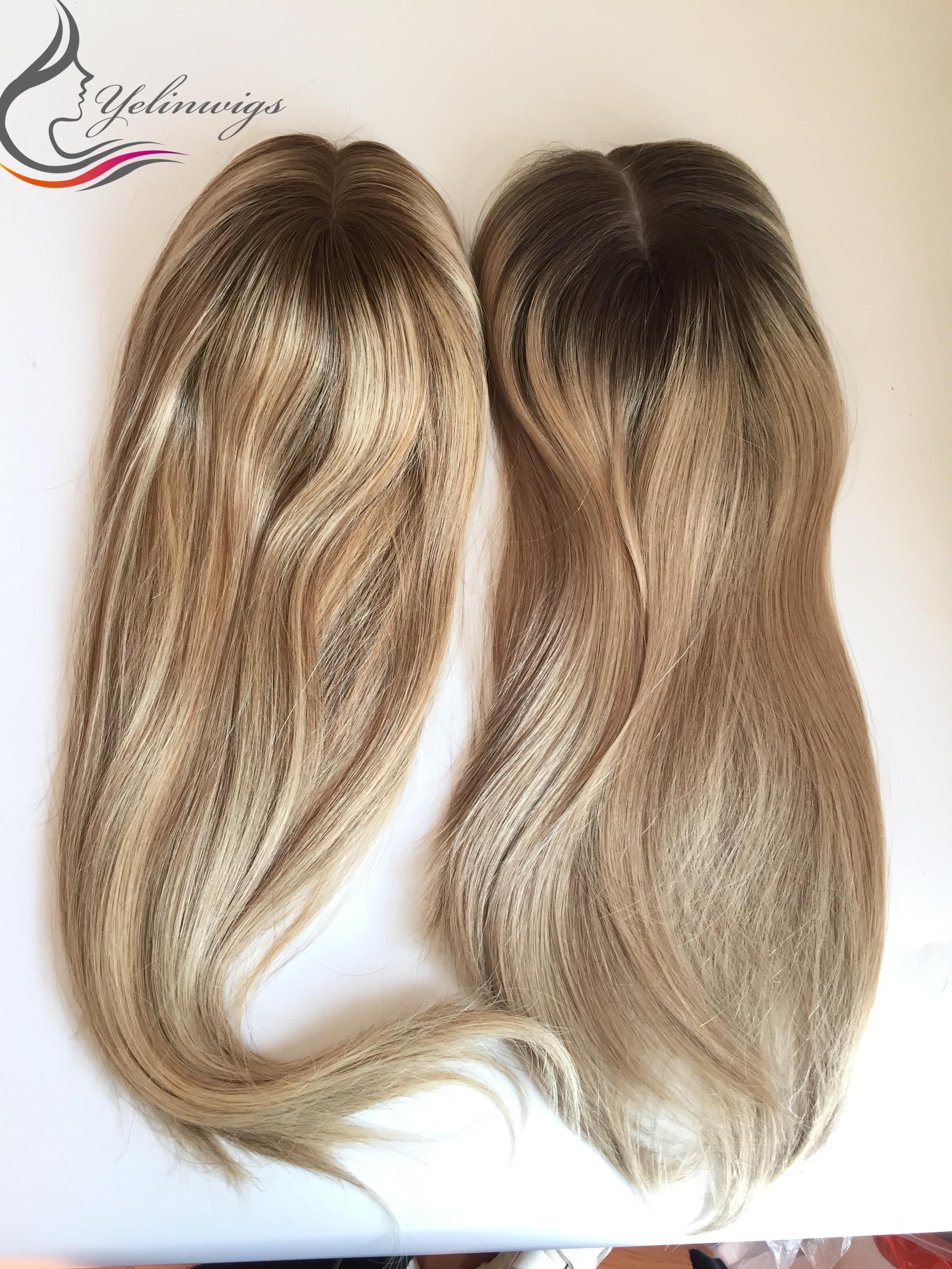 Dark Rooted Highlight Color Virgin European Hair Jewish Topper Women Hair Piece Whopper Kippah Fall