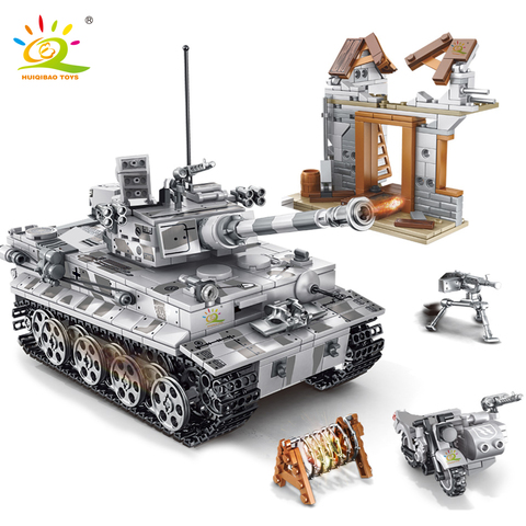 huiqibao brinquedos 1154 pcs militar alemao tigre tanque blocos de construcao ww2 soldado do exercito