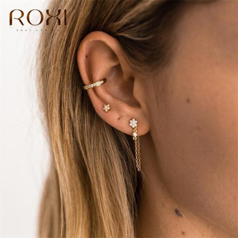 ROXI Simple Rhinestone Snowflake Hanging Drop Earrings Korean Metal Chain Dangle Earrings for Women 925 Sterling Silver Jewelry