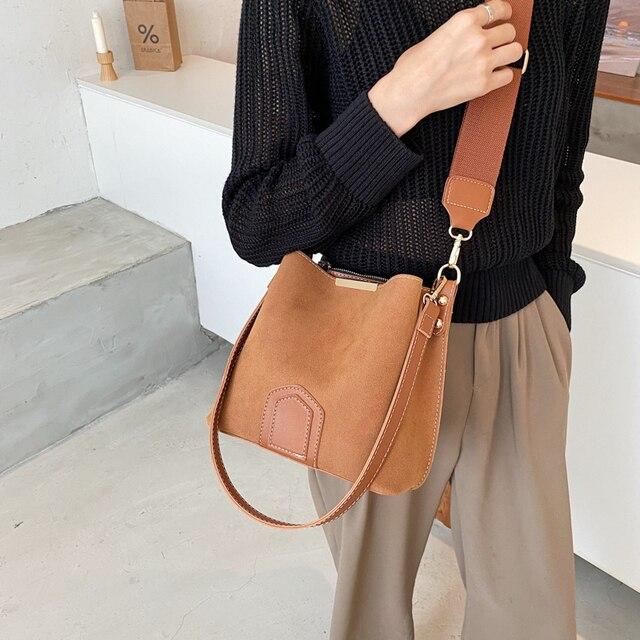 Vintage Scrub Leather Bucket Bags for Women 2021 Trending Designer Crossbody Shoulder Handbags Women's Wide Shoulder Belt Bag 2
