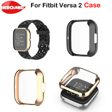 Plating Tpu Watch Case Cover For Fitbit Versa 2 Screen Protector Shell Smartwatch Accessories For Fitbit Versa 2 Smart Watch mijobs pc diamonds case cover for fitbit versa band screen protector watch shell smart watch accessories for fitbit versa lite