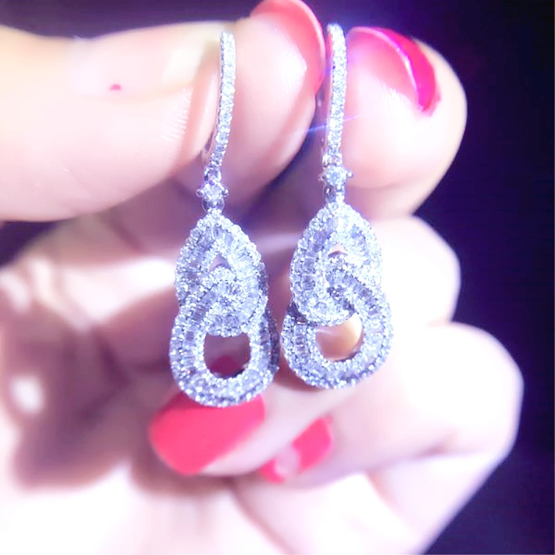 Us 1626 0 Aeaw Luxury Diamond Drop Earrings Real 18k White Gold Natural 1 2cttw Halo Wedding For Women In From Jewelry