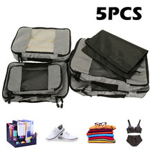 Waterproof Nylon Packing Cube Travel Bag System Durable 5 Pieces Set Large Capacity Luggage Packing Organizer Set for Clothing