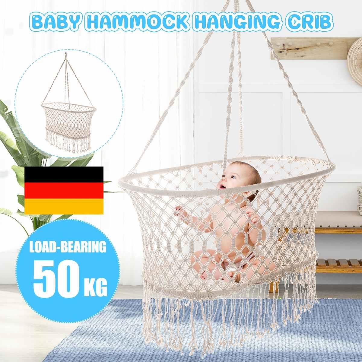 Cotton Rope Tassel Hammock Chair Swing Hammock Children Rocking Sleep Bed Indoor Outdoor Hanging Child Swing Seat Baby Cradle