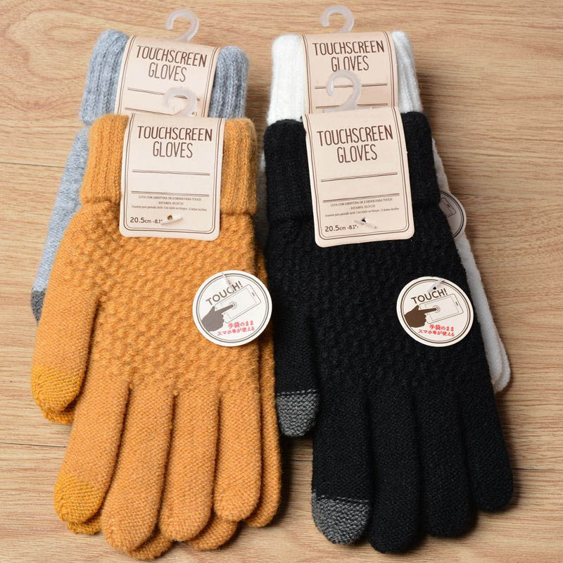 Fashion Full Finger Mittens Warm Winter Touch Screen Gloves Women Men Imitation Wool Knitted Gloves Luvas Thicken