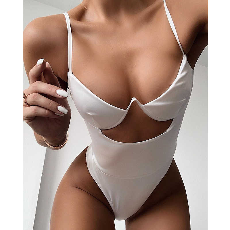 2020 Sexy V Neck Hollow Out One Piece Swimsuit Women Swimwear Bodysuit Swimsuit Push Up Monokini Bathing Suits Summer Beach Wear