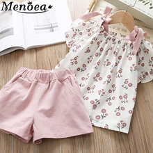 Menoea Kids Summer Clothes 2019 Children Sleeveless Floral Short-Sleeve Suits 2Pcs Sets For Girls Suit