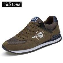 Valstone erkek spor ayakkabı hakiki deri ve örgü hava nefes eğitmenler hafif açık yürüyüş ayakkabısı İlkbahar yaz günlük