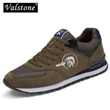 Valstone tênis masculinos couro genuíno & malha ar respirável formadores de pouco peso ao ar livre sapatos caminhada primavera verão diariamente