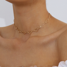 Nnw Punk Fashion Love Heart Link Single Layer Choker Necklaces For Women Golden Necklace Jewelry Valentines Party Girl Gift vowel tajweed rules recognition using nnw