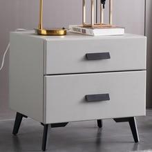 Nordic Modern Minimalist Bedside Table Bedroom Wooden Bedside Cabinet Light Luxury Storage Cabinet Leather Art Storage Cabinet