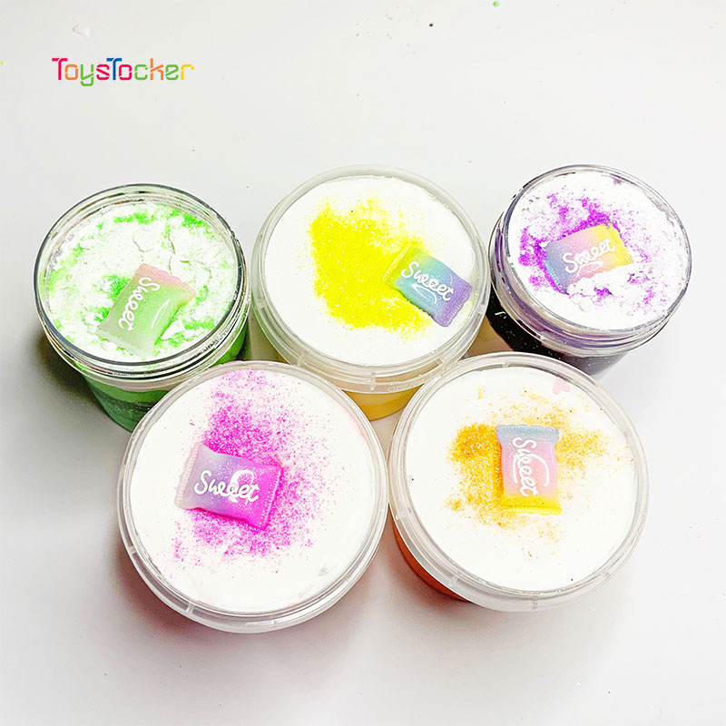 High Quality Non-Toxic Sugar Shape Puffy Candy Beads Acrylic Charms Diy Fluffy Foam Slime